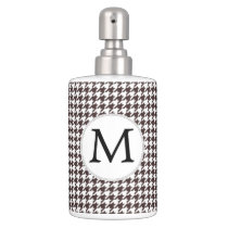 Personalized Monogram Ebony Houndstooth Pattern Bathroom Set