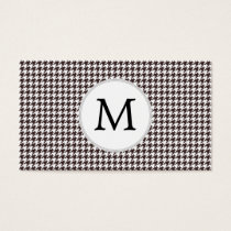 Personalized Monogram Ebony Houndstooth Pattern Business Card