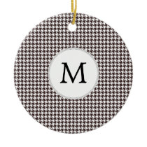 Personalized Monogram Ebony Houndstooth Pattern Ceramic Ornament