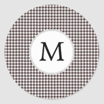 Personalized Monogram Ebony Houndstooth Pattern Classic Round Sticker