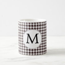 Personalized Monogram Ebony Houndstooth Pattern Coffee Mug