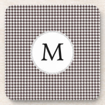 Personalized Monogram Ebony Houndstooth Pattern Drink Coaster