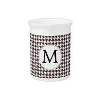 Personalized Monogram Ebony Houndstooth Pattern Drink Pitcher