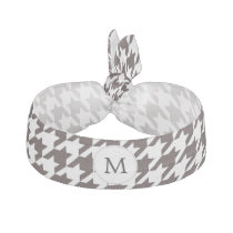 Personalized Monogram Ebony Houndstooth Pattern Hair Tie