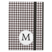 Personalized Monogram Ebony Houndstooth Pattern iPad Air Cases