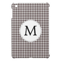 Personalized Monogram Ebony Houndstooth Pattern iPad Mini Cover