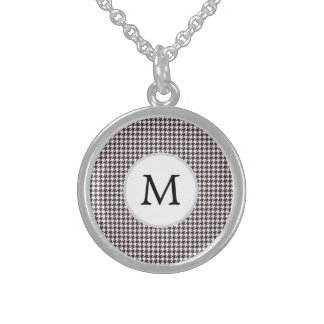 Personalized Monogram Ebony Houndstooth Pattern Sterling Silver Necklace