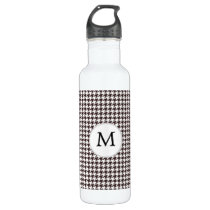 Personalized Monogram Ebony Houndstooth Pattern Water Bottle