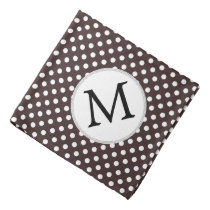 Personalized Monogram Ebony Polka dots Pattern Bandana