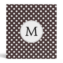 Personalized Monogram Ebony Polka dots Pattern Binder