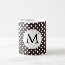 Personalized Monogram Ebony Polka dots Pattern Coffee Mug
