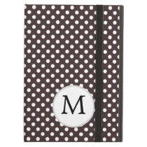 Personalized Monogram Ebony Polka dots Pattern Cover For iPad Air