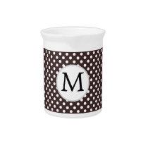 Personalized Monogram Ebony Polka dots Pattern Drink Pitcher