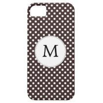Personalized Monogram Ebony Polka dots Pattern iPhone SE/5/5s Case