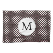 Personalized Monogram Ebony Polka dots Pattern Kitchen Towel