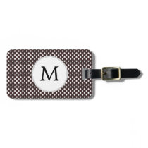 Personalized Monogram Ebony Polka dots Pattern Luggage Tag
