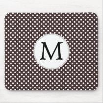 Personalized Monogram Ebony Polka dots Pattern Mouse Pad