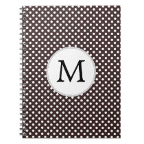 Personalized Monogram Ebony Polka dots Pattern Notebook