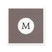 Personalized Monogram Ebony Polka dots Pattern Paper Napkin