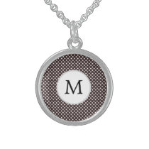 Personalized Monogram Ebony Polka dots Pattern Sterling Silver Necklace