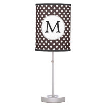 Personalized Monogram Ebony Polka dots Pattern Table Lamp