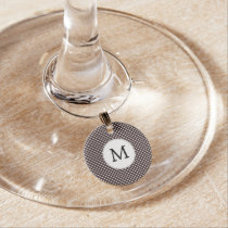 Personalized Monogram Ebony Polka dots Pattern Wine Glass Charm