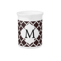 Personalized Monogram Ebony Quatrefoil Pattern Beverage Pitcher