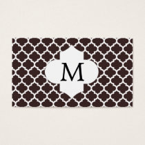 Personalized Monogram Ebony Quatrefoil Pattern Business Card