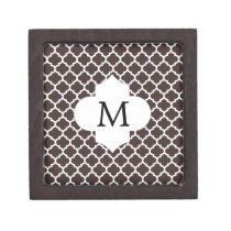 Personalized Monogram Ebony Quatrefoil Pattern Gift Box
