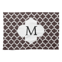 Personalized Monogram Ebony Quatrefoil Pattern Hand Towel
