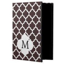 Personalized Monogram Ebony Quatrefoil Pattern iPad Air Covers