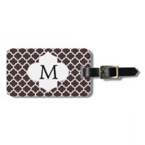 Personalized Monogram Ebony Quatrefoil Pattern Luggage Tag
