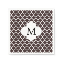 Personalized Monogram Ebony Quatrefoil Pattern Napkin