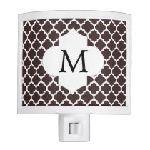 Personalized Monogram Ebony Quatrefoil Pattern Night Light