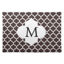 Personalized Monogram Ebony Quatrefoil Pattern Placemat