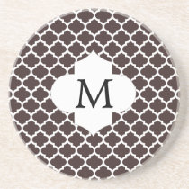 Personalized Monogram Ebony Quatrefoil Pattern Sandstone Coaster