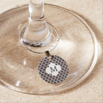 Personalized Monogram Ebony Quatrefoil Pattern Wine Charm