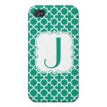 Personalized Monogram Emerald Green Quatrefoil iPhone 4/4S Covers