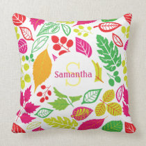 Personalized Monogram Fall Leaves Pattern Autumn Throw Pillow