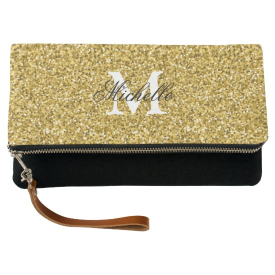 Personalized monogram faux gold glitter Clutch