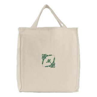 Personalized monogram floral embroidered tote bag