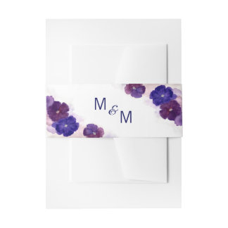 Personalized Monogram Floral Purple Plum Wedding Invitation Belly Band