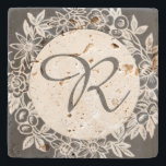 "Personalized Monogram Floral Stone Coaster<br><div class=""desc"">This elegant stone coaster features a floral design in gray and can be customized with a monogram (initial). A perfect hostess or housewarming gift.</div>"