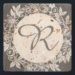 """Personalized Monogram Floral Stone Coaster<br><div class=""""desc"""">This elegant stone coaster features a floral design in gray and can be customized with a monogram (initial). A perfect hostess or housewarming gift.</div>"""