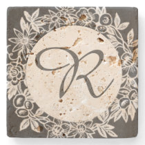 Personalized Monogram Floral Stone Coaster