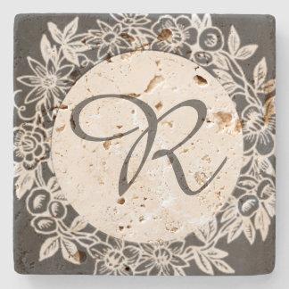 Personalized Monogram Floral Stone Coaster