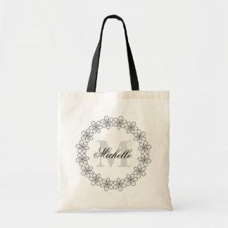 Personalized monogram flower bridesmaid tote bag