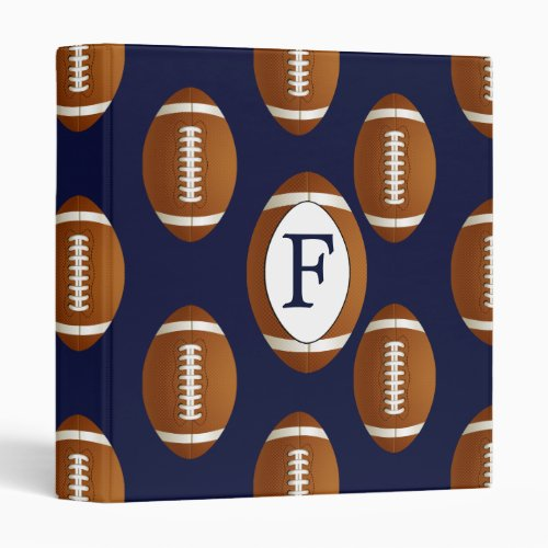 Personalized Monogram Football Balls Sports 3 Ring Binders
