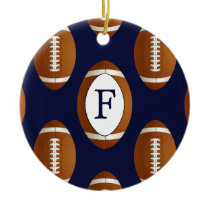 Personalized Monogram Football Balls Sports Ceramic Ornament