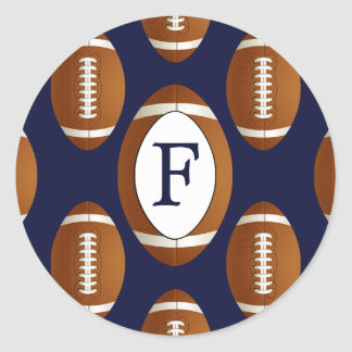 Personalized Monogram Football Balls Sports Classic Round Sticker